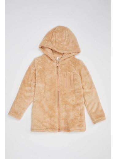 DeFacto Kız Çocuk Peluş Kumaş Cep Detaylı Hırka Bej